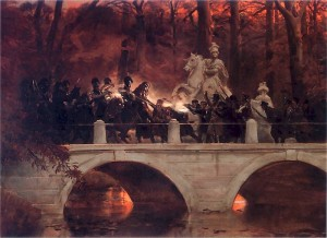 Battle on a bridge in Warsaw's Łazienki Park